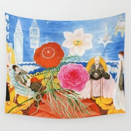 Red Poppies, Calla Lilies, Peonies & NYC Family Portrait by Florine Stettheimer Wall Tapestry