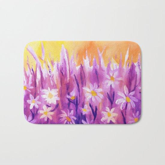 White flowers fantasy Bath Mat
