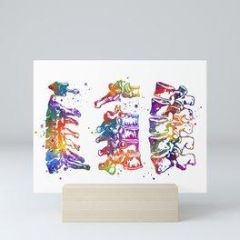 Cervical Thoracic Lumbar Vertebrae Spine Art Colorful Watercolor Gift Anatomy Art Mini Art Print