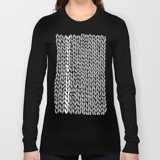 Grey Knit With White Stripe Long Sleeve T-shirt