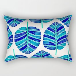 Elephant Ear Alocasia – Blue & Turquoise Palette Rectangular Pillow