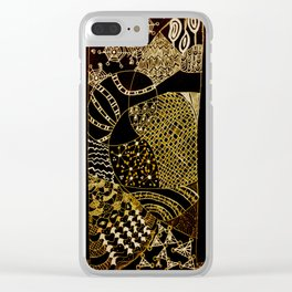 Web in Black & White & Gold Clear iPhone Case