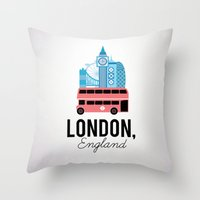 england Throw Pillows featuring London, England by Milli-Jane