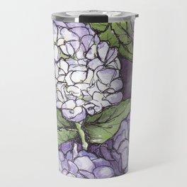 Hydrangea - Watercolor and Ink artwork Travel Mug