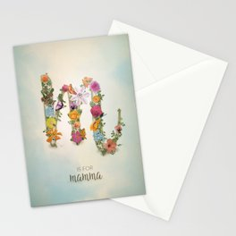 "Floral Monogram M - ""M is for mamma"" - Mother's Day gifts Stationery Cards"