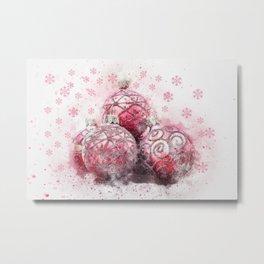 Elegant Christmas Red Ornaments Metal Print