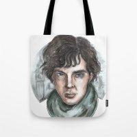 sherlock holmes Tote Bags featuring Sherlock Holmes by ArtEleanor