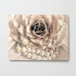 Rose Flower & Pearls Modern Cottage Decor Modern Country Art A432 Metal Print