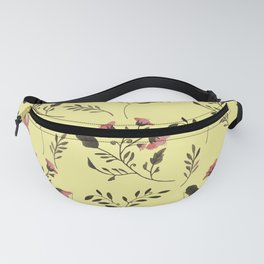 Rose Hummingbirds and Pink Flowers in Butter Yellow Floral Pattern with Pink Flowers and Bark Brown Fanny Pack