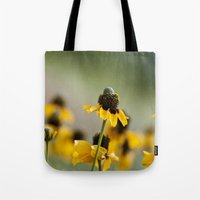 hats Tote Bags featuring Yellow hats by Julia Goss Photography
