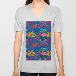 Psychedelic Jungle Garden in Pond Teal Unisex V-Neck