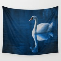 swan Wall Tapestries featuring Swan by Spooky Dooky