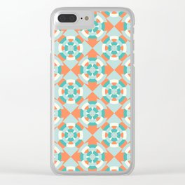 Simple geometric boat helm in mint and orange Clear iPhone Case