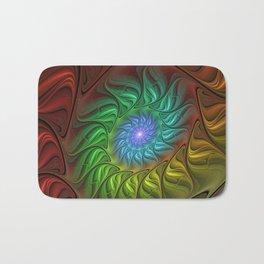 Colorful Spiral Fractal Bath Mat