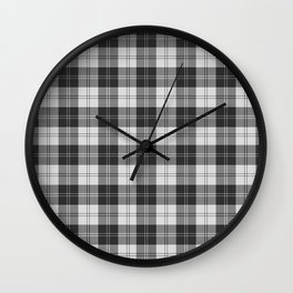 Clan Erskine Tartan // Black & White Wall Clock