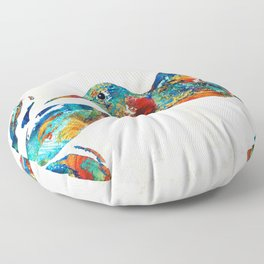 Colorful Hummingbird Art by Sharon Cummings Floor Pillow