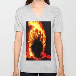 The Fire Burning Skull Unisex V-Neck