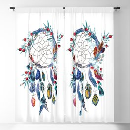 Boho vector fashion illustration with dreamcatcher and colorful feathers Blackout Curtain