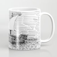 ship Mugs featuring Ship by Mr.Willow