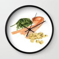pasta Wall Clocks featuring Fresh Pasta by Helen Krayenhoff