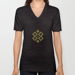 Fiery ancient ornament. Old Nordic embroidery in a psychedelic modern style Unisex V-Neck