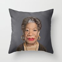 celebrity Throw Pillows featuring Celebrity Sunday ~ Maya Angelou by rob art | illustration