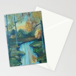 Autumn is Here, Original Contemporary Oil Painting, Original Modern Art, landscape, Luna Smith Stationery Cards