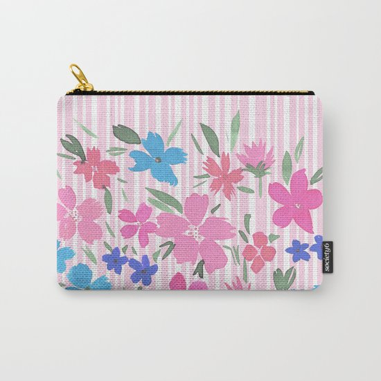 Floral Spring and Stripes Pink Carry-All Pouch