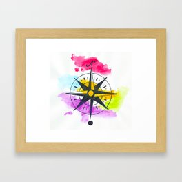 Watercolor Compass Framed Art Print