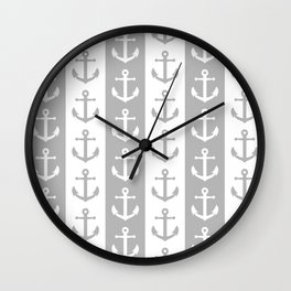 Nautical Sailor Stripes with Anchor Pattern Gray 241 Wall Clock