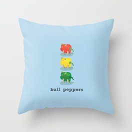 Bull Peppers Throw Pillow