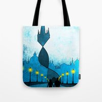 prague Tote Bags featuring prague by Darthdaloon