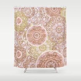 Rosey Gold Mandalas Shower Curtain