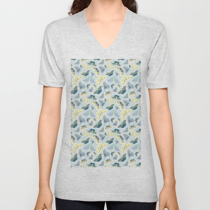 Fluttering in Grey and Yellow Unisex V-Neck