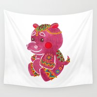 hippo Wall Tapestries featuring Baby Hippo by haidishabrina
