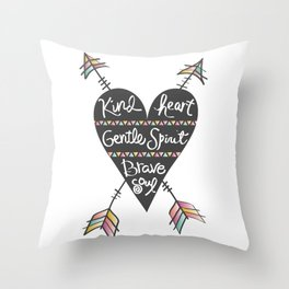 Kind Gentle Brave 1 Throw Pillow