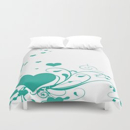Aquamarine Valentine Hearts On A White Background Duvet Cover