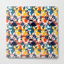 Rabbit colored pattern no2 Metal Print