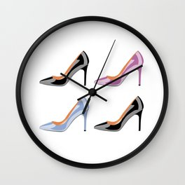 High heel shoes in black, serenity blue and bodacious pink Wall Clock
