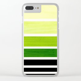Sap Green Minimalist Mid Century Staggered Stripes Rothko Color Block Geometric Art Clear iPhone Case