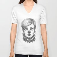 clown V-neck T-shirts featuring Clown by Robin Ewers