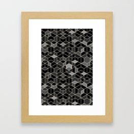 Black geometry / hexagon pattern Framed Art Print