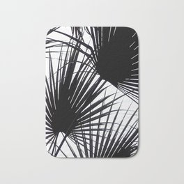 Black and White Tropical Leaves Bath Mat