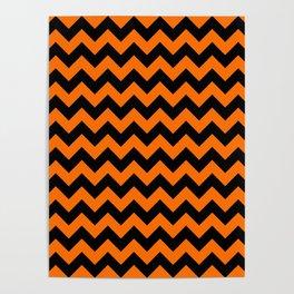 Large Dark Pumpkin Orange and Black Halloween Chevron Stripes Poster