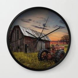Abandoned Farmall Tractor and Barn Wall Clock