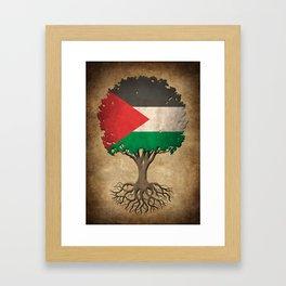 Vintage Tree of Life with Flag of Palestine Framed Art Print