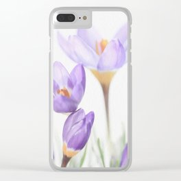 Painterly Crocus Clear iPhone Case