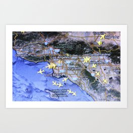 Los Angeles on the radar map Art Print