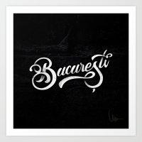 Bucuresti/Bucharest lettering Art Print