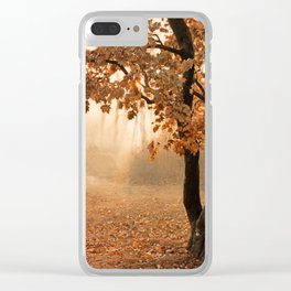 Rust Apricot Orange Maple Autumn Sunrise Clear iPhone Case